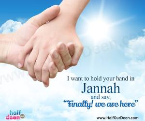 jannah, paradise, hold hand, finally we are here, spouse, marriage, couple