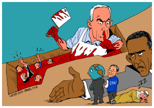 israel, usa, world, president, war crimes cartoon gaza under attack israel carlos-latuff